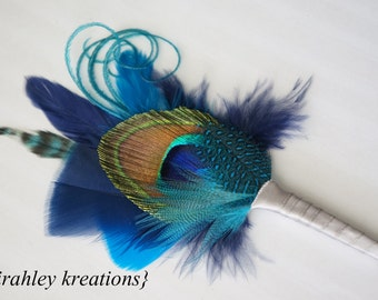 BLUE Peacock Feather Boutonniere Groom Groomsmen Wedding Prom Party Keepsake Lapel Pin ATREYA Buttonhole in Royal Cobalt Teal Turquoise Gray