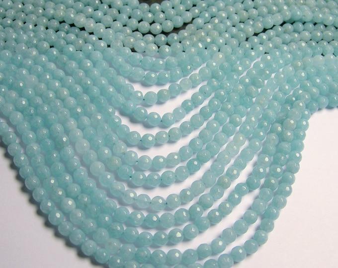 Blue sponge quartz - 6mm faceted beads -1 full strand - 63 beads - RFG591