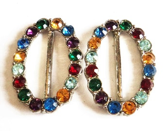 Pair Multi Coloured Paste Buckles... 34mm Ovals... c.1950s Vintage