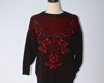 SALE Vintage UGLY CHrisTMAS Sweater . Black Red Glitter Christmas Sweater . Acrylic Knit Kitsch . Size Large