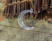 8 pc Antique Silver Tone Moon Charms , Charms and Findings, Pendant Findings , Jewelry Findings,Bracelet Connector,earrings Connector