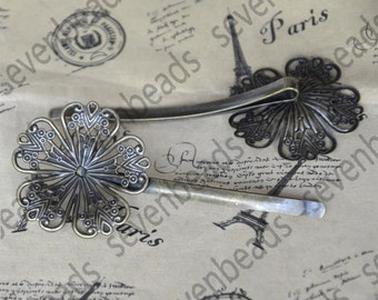 8 pcs Antique Bronze bobby pins flower Hair Clips with 32mm flower pad