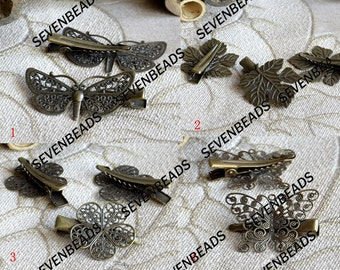 New style Antique Bronze bobby pins flower filigree pad,flower filigree bobby pins,Flower Charm Hairpins