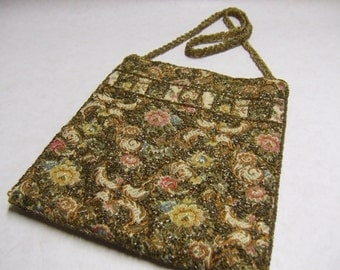 Vintage Tapestry Beaded Bag - Walborg - Hand beaded in Hong Kong - Rose - Green - Gold - Blue Tapestry with Gold Beads - Gold Beaded Handle