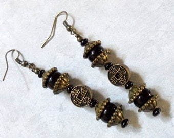 Black and Brass Oriental Coin Earrings (2773)