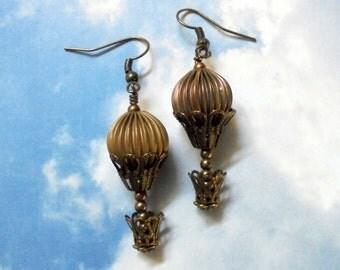 Brass Steampunk Hot Air Balloon Earrings (3033)