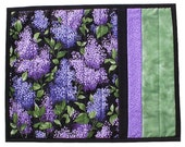for Amy Purple Lilacs Placemat, handmade quilted floral blooms, 14 x 17