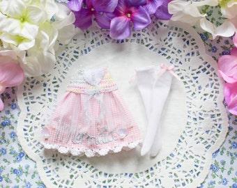 Pink Mermaid dress and socks set - [ Blythe / Pullip / Licca / Pure Neemo ]
