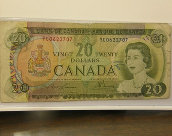 Nice Circulated Canada 1969 20 Dollars Currency Note 2