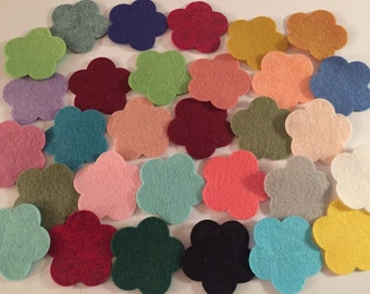 Wool Felt Flowers - 30 total - Random Colored 3259 - headband supplies - flower crown - DIY crafts