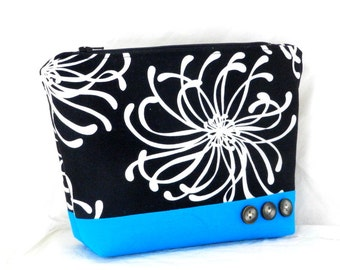 Bridesmaid Gift, Make Up Bag, Black and White, Cosmetic Bag, Clutch Purse, Ocean Blue Accents, Pouch Bag, Handmade Accessory,