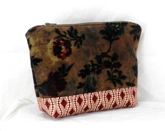 Small Purse, Make Up Bag, Red and Tauper, Cosmetic Bag, Clutch Purse, Green Accents, Pouch Bag, Handmade Accessory, Corduory Purse