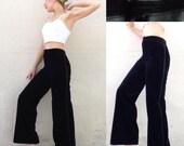 des années 70 TED LAPIDUS Français VTG coton noir velours large, pantalon Sz Small