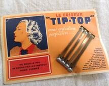 Antique Rare 1920's Spit Curl wave Hair Pins barrettes with original box