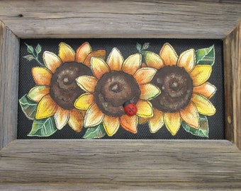 Yellow Sunflowers, Framed Rustic Barn Wood, Tole or Hand Painted on Black Fiberglass Screen, Wall Hanging, Reclaimed Barn Wood Frame
