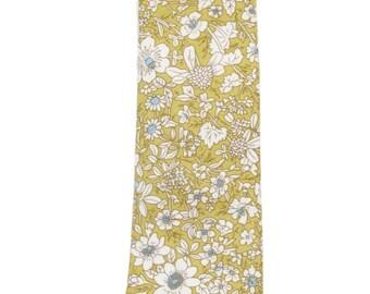 Men's Slim Olive Green / White Wildflower Floral Tie