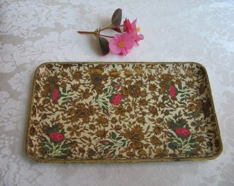 Vintage Tray Floral Paper Mache Japan, Gold Cream Pink Flowers Roses Green Chintz, Shabby Cottage