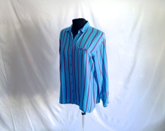 Vintage 70's Striped Turquoise and Ruby Striped Boho Shirt by Gypsy® Men's Medium