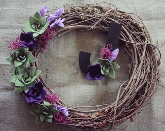 """Personalized 18""""wreath and initial combo with purple floral and succulents"""