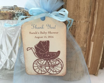 Boy Shower Favors Kits DIY (Do It Yourself) Baby Carriage Organza Bags, Personalized Tags