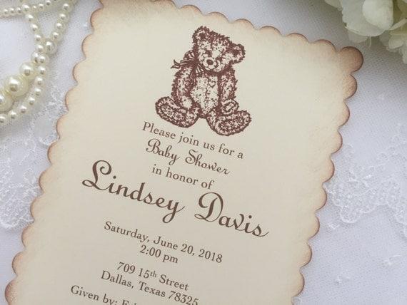 teddy bear invitations baby shower invite birthday neutral printed set