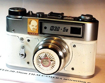 White Vintage Red Star FED-5 Russian camera -=Red October -60 years=-
