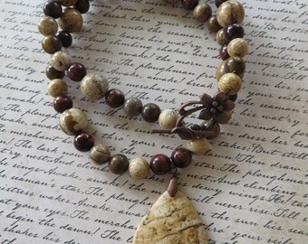 Picture Jasper Autumn Jasper and Tigers Eye Beaded Necklace with Picture Jasper Pendant