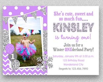 Girls 1st Birthday Invitation , Chevron Wonderland Snowflake 1st Birthday Party Invitation, Girls Birthday Invitation, 2nd, 3rd, 4th