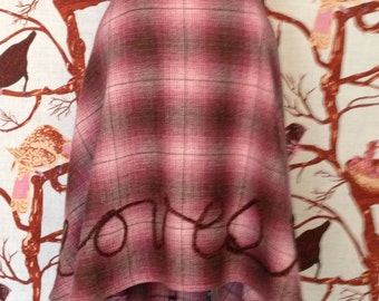 "FREE SHIP Romantic  ""He loves you"" Rustic Pink Flannel Plaid Wool Hi Low Short Long Full High Waist Circle Medium 4-8 and Large 8 10 12"