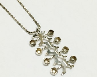 SALOVAARA Finnish Modernist Pendant Necklace- Silver Signed Mid Century Abstract, Kultaseppa