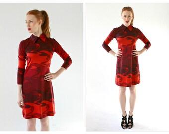 70s Red Lava Collar Dress- Bodycon Day Dress, Psychedelic, S/M, Crimson, Statement Vintage, Mad Men Office Secretary Dress, MIZAR of Italy