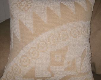 Chenille Pillow, 2-Tone Tan/White, Square, Vintage