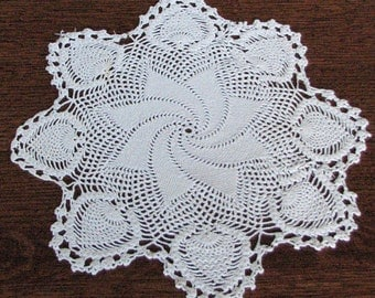 "Round Doily, Scalloped Round Doily, Crocheted Doily, Collectible Doily, Vintage Doily, 16"" Round Doily"
