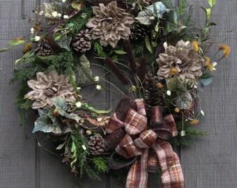 Fall Wreath, Autumn Pine, Front Door Wreath, Outdoor Door Wreath Fall, Fall Door Wreath