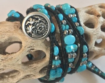 Turquoise and Black Leather Multi-wrap Bracelet with Silver Beads