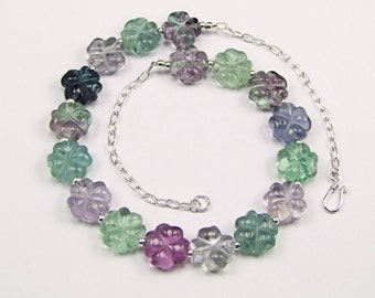 Fluorite Carved Flower Sterling Silver Necklace - N861