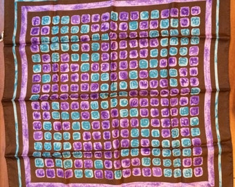 Water Repellent Acetate Scarf Brown Purple Blue Vintage Accessory Made in Japan
