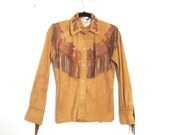 Char & Sher Designs Deerskin Suede Fringed Southwestern Fringed Snap Top Ladies Size S