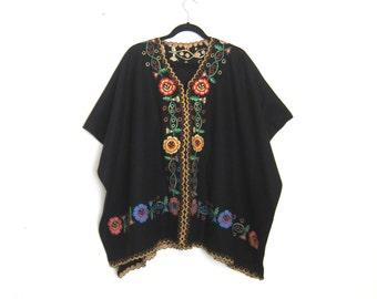 Poncho Folk Embroidered Ethnic Flower Black Wool OSFM
