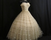 Vintage 50's 50s Will Steinman Strapless Metallic Gold Tulle Sequins Holiday Party Prom Wedding DRESS Gown