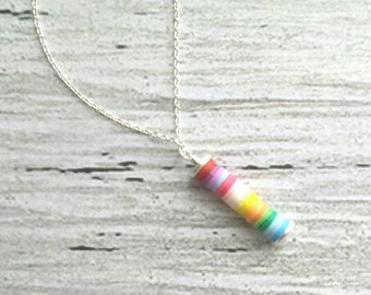 Happy Necklace - rainbow color stack pendant on delicate 14K gold plated chain - colorful peace love gradient ombre gypsy boho bohemian