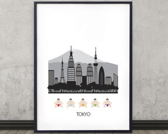 Tokyo city poster, wall art,  with the sumo wrestlers, fuji, Tokyo skyline