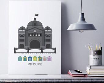 Melbourne, Digital download, Melbourne, city, Flinders street, Art print, Scandinavian design