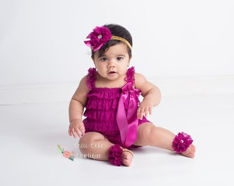 Baby Lace Romper, Baby Girls Outfit, Gold & Plum Lace Petti Romper, Baby Bodysuit, Rompers, Birthday Romper Set, Baby Romper, Photo Prop
