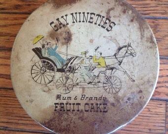 Vintage Gay Nineties Rum & Brandy Fruit Cake Tin