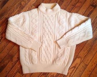 Vintage Kings Road 100% Wool Cream Cable Sweater XL