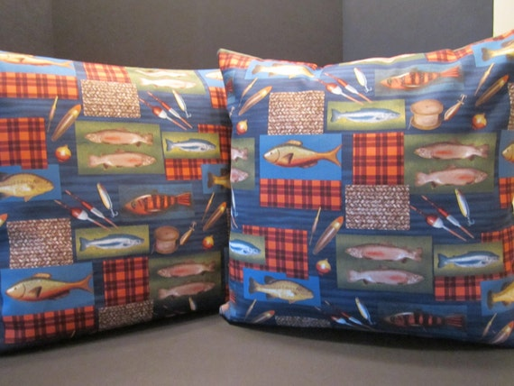 Fish Print Canvas Pillow Covers - Fish Designer Canvas Fabric - Man Cave Home Cabin Cottage Lodge Decor  - 18 Inch PAIR - Father's Day