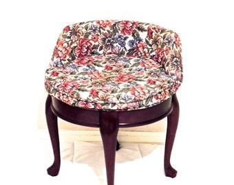 vintage floral princess chair - 1920s-30s art deco upholstered wood vanity chair