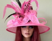 Pink Black White Wide Brim Kentucky Derby Oaks  -Wedding- Special Occasion - Sinamay