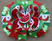 custom listing Watermelon Hair bow Summer Hair Bow Red Watermelon Girl Gift Summer Photo Prop large boutique hair bow